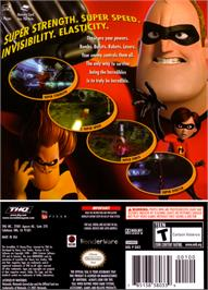Box back cover for Incredibles on the Nintendo GameCube.