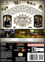 Box back cover for Lemony Snicket's A Series of Unfortunate Events on the Nintendo GameCube.