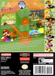 Box back cover for Mario Superstar Baseball on the Nintendo GameCube.