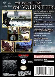 Box back cover for Medal of Honor: Frontline on the Nintendo GameCube.