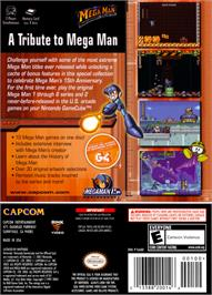 Box back cover for Mega Man Anniversary Collection on the Nintendo GameCube.