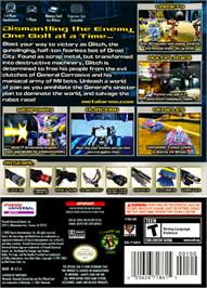 Box back cover for Metal Arms: Glitch in the System on the Nintendo GameCube.