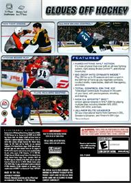 Box back cover for NHL 2004 on the Nintendo GameCube.