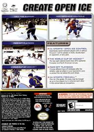 Box back cover for NHL 2005 on the Nintendo GameCube.