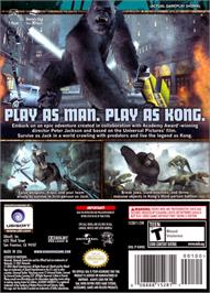 Box back cover for Peter Jackson's King Kong: The Official Game of the Movie on the Nintendo GameCube.