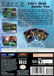 Box back cover for Phantasy Star Online Episode III: C.A.R.D. Revolution on the Nintendo GameCube.