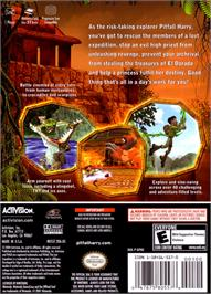 Box back cover for Pitfall: The Lost Expedition on the Nintendo GameCube.