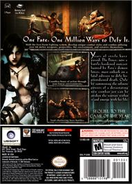 Box back cover for Prince of Persia: Warrior Within on the Nintendo GameCube.