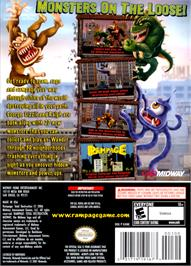 Box back cover for Rampage: Total Destruction on the Nintendo GameCube.
