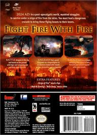 Box back cover for Reign of Fire on the Nintendo GameCube.