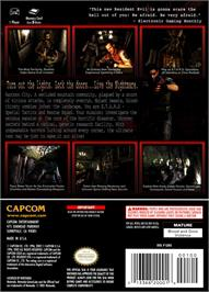 Box back cover for Resident Evil: Code: Veronica X on the Nintendo GameCube.
