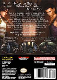 Box back cover for Resident Evil Zero on the Nintendo GameCube.