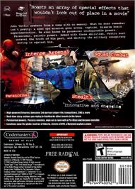 Box back cover for Second Sight on the Nintendo GameCube.