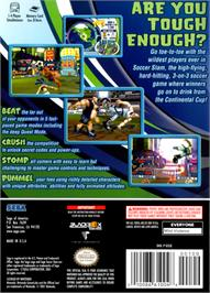 Box back cover for Sega Soccer Slam on the Nintendo GameCube.