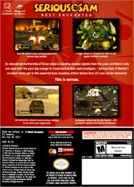 Box back cover for Serious Sam: Next Encounter on the Nintendo GameCube.