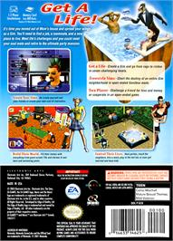Box back cover for Sims on the Nintendo GameCube.