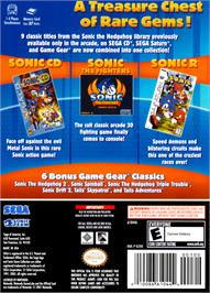 Box back cover for Sonic Gems Collection on the Nintendo GameCube.