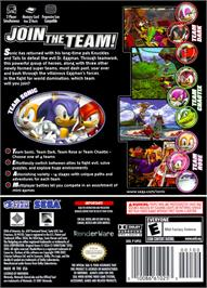 Box back cover for Sonic Heroes on the Nintendo GameCube.
