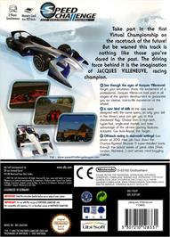 Box back cover for Speed Challenge: Jacques Villeneuve's Racing Vision on the Nintendo GameCube.