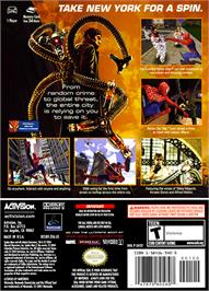 Box back cover for Spider-Man 2 on the Nintendo GameCube.
