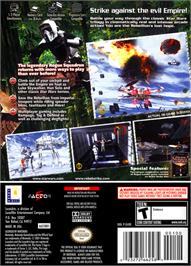 Box back cover for Star Wars: Rogue Squadron III - Rebel Strike on the Nintendo GameCube.