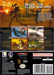 Box back cover for Star Wars: The Clone Wars on the Nintendo GameCube.