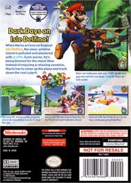 Box back cover for Super Mario Sunshine on the Nintendo GameCube.