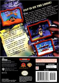 Box back cover for Taz: Wanted on the Nintendo GameCube.