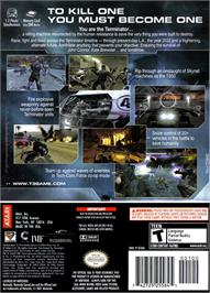 Box back cover for Terminator 3: The Redemption on the Nintendo GameCube.