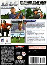 Box back cover for Tiger Woods PGA Tour 2004 on the Nintendo GameCube.