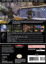 Box back cover for TimeSplitters 2 on the Nintendo GameCube.