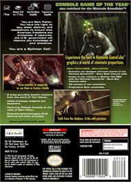 Box back cover for Tom Clancy's Splinter Cell on the Nintendo GameCube.
