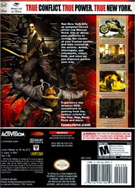 Box back cover for True Crime: New York City on the Nintendo GameCube.