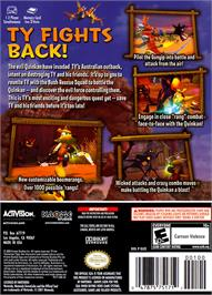 Box back cover for Ty the Tasmanian Tiger 3: Night of the Quinkan on the Nintendo GameCube.