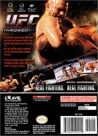 Box back cover for UFC: Throwdown on the Nintendo GameCube.