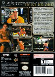Box back cover for WWE Day of Reckoning 2 on the Nintendo GameCube.