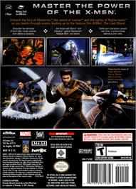 Box back cover for X-Men: The Official Game on the Nintendo GameCube.