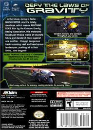 Box back cover for XGRA: Extreme G Racing Association on the Nintendo GameCube.
