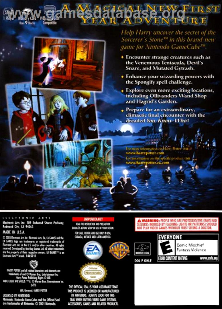 Harry Potter and the Sorcerer's Stone - Nintendo GameCube - Artwork - Box Back