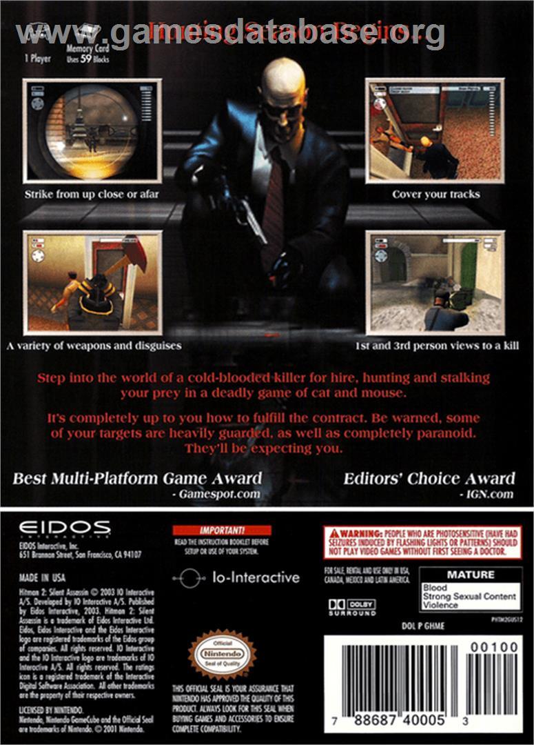 Hitman 2 Silent Assassin Nintendo Gamecube Artwork Box Back