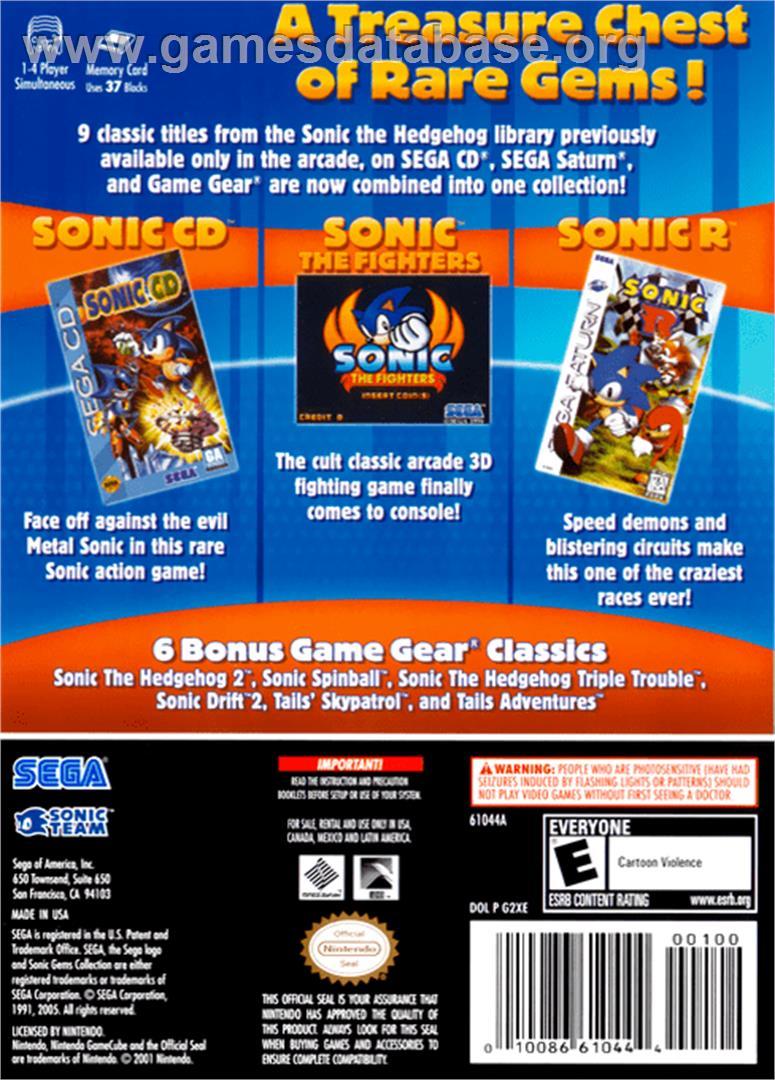 Sonic Gems Collection Nintendo Gamecube Artwork Box Back