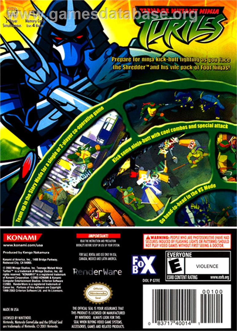 Teenage Mutant Ninja Turtles - Nintendo GameCube - Artwork - Box Back