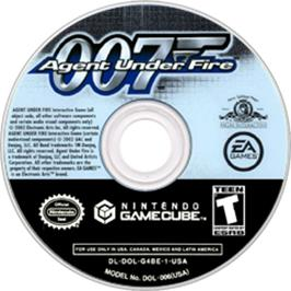 Artwork on the CD for 007: Agent Under Fire on the Nintendo GameCube.