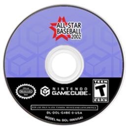 Artwork on the CD for All-Star Baseball 2002 on the Nintendo GameCube.