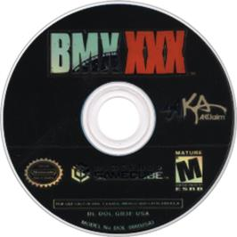 Artwork on the CD for BMX XXX on the Nintendo GameCube.