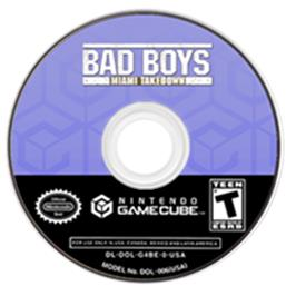 Artwork on the CD for Bad Boys: Miami Takedown on the Nintendo GameCube.