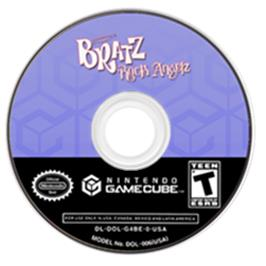 Artwork on the CD for Bratz: Rock Angelz on the Nintendo GameCube.