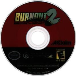 Artwork on the CD for Burnout 2: Point of Impact on the Nintendo GameCube.