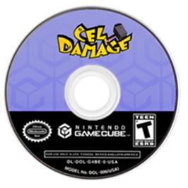Artwork on the CD for Cel Damage on the Nintendo GameCube.
