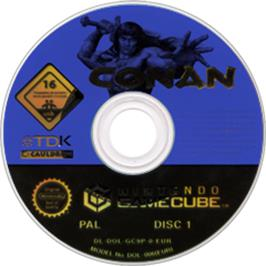 Artwork on the CD for Conan on the Nintendo GameCube.